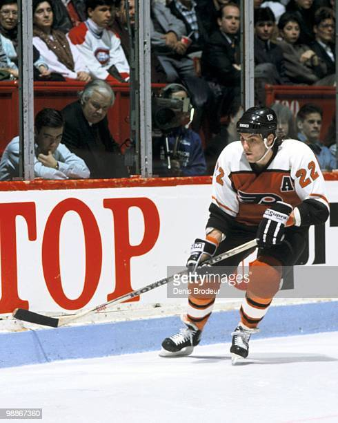 MONTREAL 1980's Rick Tocchet of the Philadelphia Flyers skates against the Montreal Canadiens during the 1980's at the Montreal Forum in Montreal...
