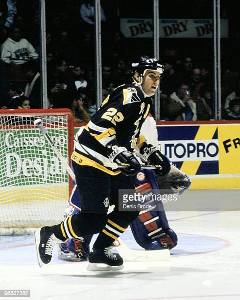 MONTREAL 1990's Rick Tocchet of the Pittsburgh Penguins skates against the Montreal Canadiens during the 1990's at the Montreal Forum in Montreal...