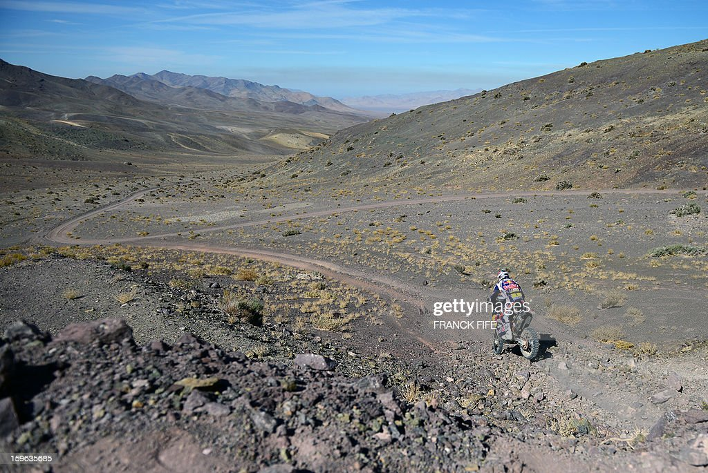 KTM's rider Cyril Despres of France competes during the Stage 12 of the Dakar 2013 between Fiambala, Argentina and Copiapo, Chile, on January 17, 2013. The rally takes place in Peru, Argentina and Chile between January 5 and 20.