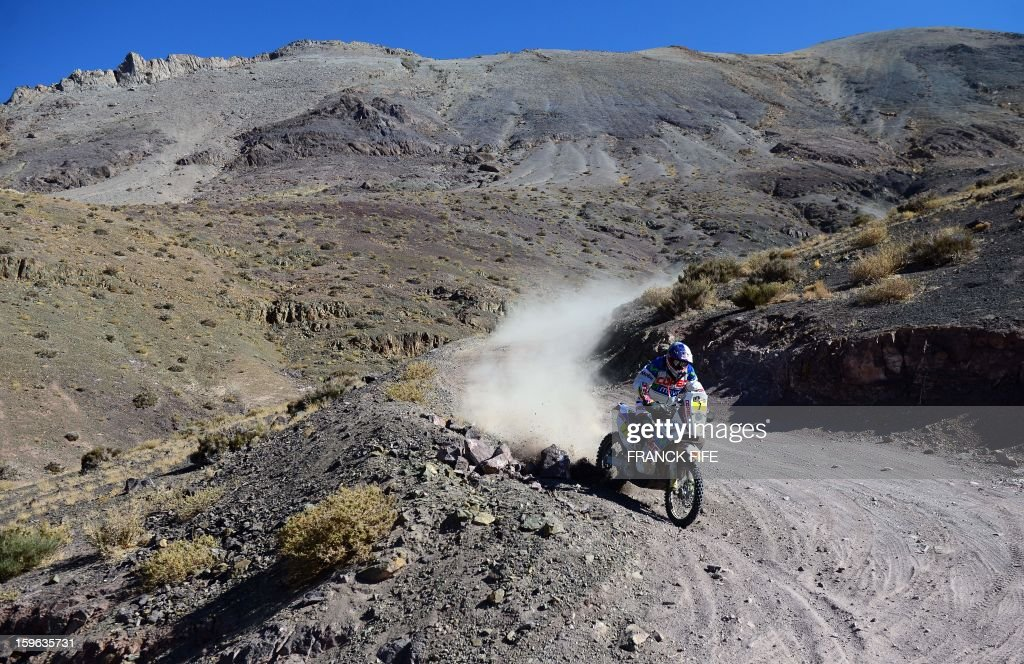 KTM's rider Francisco Chaleco Lopez of Chile competes during the Stage 12 of the Dakar 2013 between Fiambala, Argentina and Copiapo, Chile, on January 17, 2013. The rally takes place in Peru, Argentina and Chile between January 5 and 20. AFP PHOTO / FRANCK FIFE