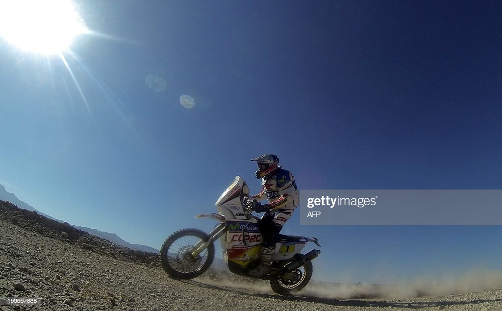 KTM's rider Francisco Chaleco Lopez of Chile competes in the Stage 13 of the 2013 Dakar Rally between Copiapo and La Serena, in Chile, on January 18, 2013. The rally is taking place in Peru, Argentina and Chile from January 5 to 20.