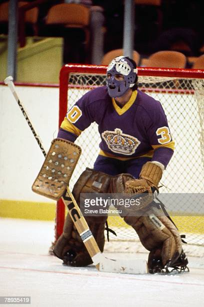 BOSTON MA 1970's Rogie Vachon of the Los Angeles Kings plays against the Boston Bruins