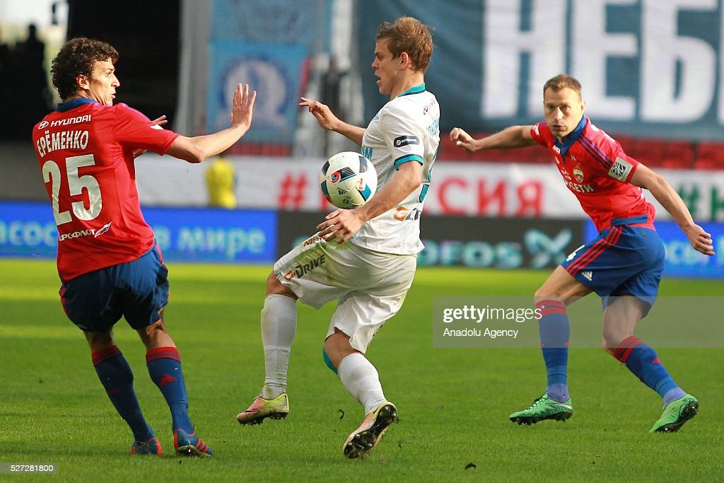 CSKA's Roman Eremenko, Zenit's Alexander Kokorin and CSKA's Vasili Berezutskiyn fight for the ball during Russian Cup final match between CSKA Moscow vs Zenit St. Petersburg at Kazan Arena in Kazan, Russia on May 02, 2016.