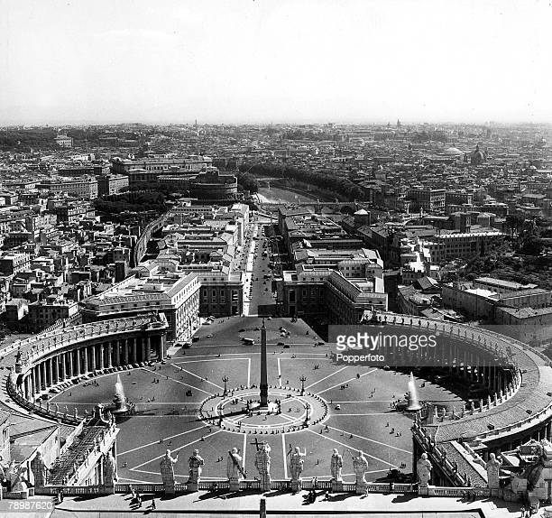 1960's Rome Italy A panoramic view of St Peters square in the Vatican City