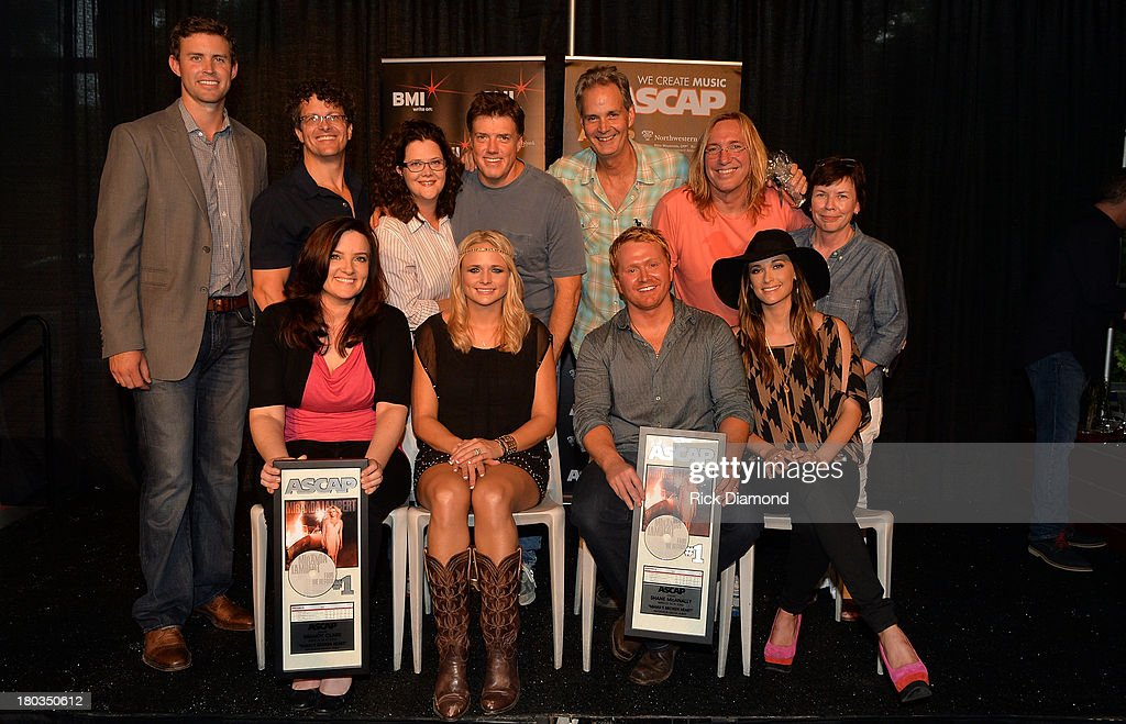 ): ASCAP's Ryan Beuschel; Songs of Parallel's Tim Hunze; Vista Loma's <a gi-track='captionPersonalityLinkClicked' href=/galleries/search?phrase=Stephanie+Cox&family=editorial&specificpeople=3861188 ng-click='$event.stopPropagation()'>Stephanie Cox</a>; producers Frank Liddell, Glenn Worf, and Chuck Ainlay; and Little Blue Egg's Robin Palmer (front row, l-r): co-writers Brandy Clark and <a gi-track='captionPersonalityLinkClicked' href=/galleries/search?phrase=Miranda+Lambert&family=editorial&specificpeople=571972 ng-click='$event.stopPropagation()'>Miranda Lambert</a>, Shane McAnally, and co-writer <a gi-track='captionPersonalityLinkClicked' href=/galleries/search?phrase=Kacey+Musgraves&family=editorial&specificpeople=4103138 ng-click='$event.stopPropagation()'>Kacey Musgraves</a> Celebrate <a gi-track='captionPersonalityLinkClicked' href=/galleries/search?phrase=Miranda+Lambert&family=editorial&specificpeople=571972 ng-click='$event.stopPropagation()'>Miranda Lambert</a>'s No.1 Song 'Mama's Broken Heart' with co writers <a gi-track='captionPersonalityLinkClicked' href=/galleries/search?phrase=Kacey+Musgraves&family=editorial&specificpeople=4103138 ng-click='$event.stopPropagation()'>Kacey Musgraves</a>, Brandy Clark and Shane McAnally at Cabana on September 11, 2013 in Nashville, Tennessee.