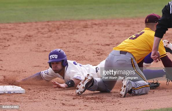 TCU's Ryan Merrill reaches second on a wild pitch against Arizona State on Sunday Feb 26 2017 at Lupton Stadium in Fort Worth Texas