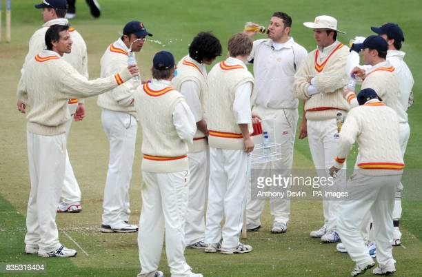MCC's Sajid Mahmood splashes water towards Adil Rashid as the players take drinks during the Champion County match at Lords London