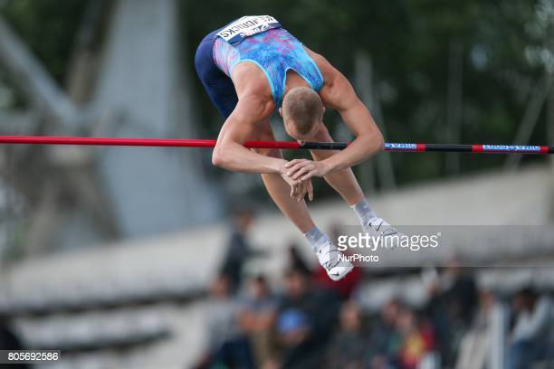 USA's Sam Kendricks competes in the the Pole Vault event during the men's 110 meters hurdles within the International Association of Athletics...