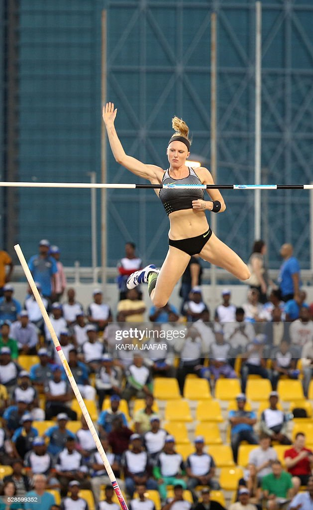 USA's Sandi Morris competes during the Pole Vault at the Diamond League athletics competition at the Suhaim bin Hamad Stadium in Doha, on May 6, 2016. / AFP / KARIM