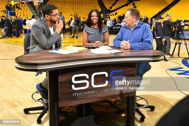 ESPN's SC6 Michael Smith and Jemele Hill interview Michigan State basketball head coach Tom Izzo before Game One of the 2017 NBA Finals between the...