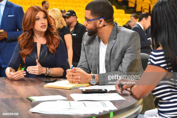 ESPN's SC6 Michael Smith and Jemele Hill interview Rachel Nichols before Game One of the 2017 NBA Finals between the Cleveland Cavaliers and the...