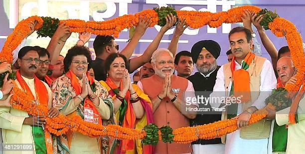 BJP's senior Leader Sat Pal Jain Deputy Mayor Chandigarh Divesh Moudgil Aarti Mehra Kirron Kher Lok Sabha BJP candidate from Chandigarh and Narendra...