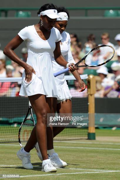 USA's Serena and Venus Williams during their doubles match in the Wimbledon Championships 2008 at the All England Tennis Club in Wimbledon