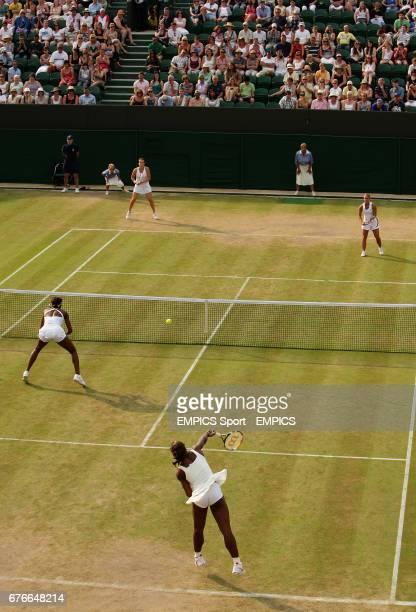 USA's Serena Williams and Venus Williams in action against Slovakia's Dominika Cibulkova and Russia's Anastasia Pavlyuchenkova