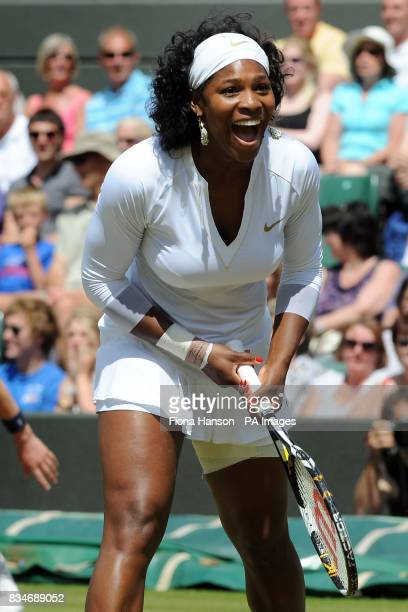 USA's Serena Williams appeals for a decision during her doubles with partner and sister Venus in the Wimbledon Championships 2008 at the All England...