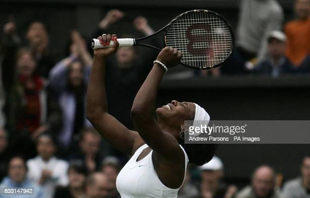 USA's Serena Williams celebrates her win against Slovakia's Daniela Hantuchova during The All England Lawn Tennis Championship at Wimbledon