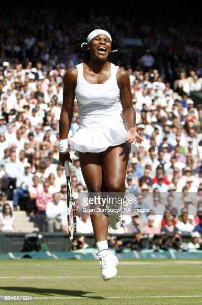 USA's Serena Williams reacts after missing a point in her Ladies' Final against Venus Williams during the Wimbledon Championships 2008 at the All...