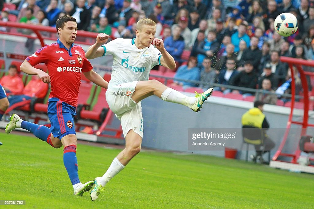 CSKA's Sergey Tkachev and Zenit's Igor Smolnikov fight for the ball during Russian Cup final match between CSKA Moscow vs Zenit St. Petersburg at Kazan Arena in Kazan, Russia on May 02, 2016.