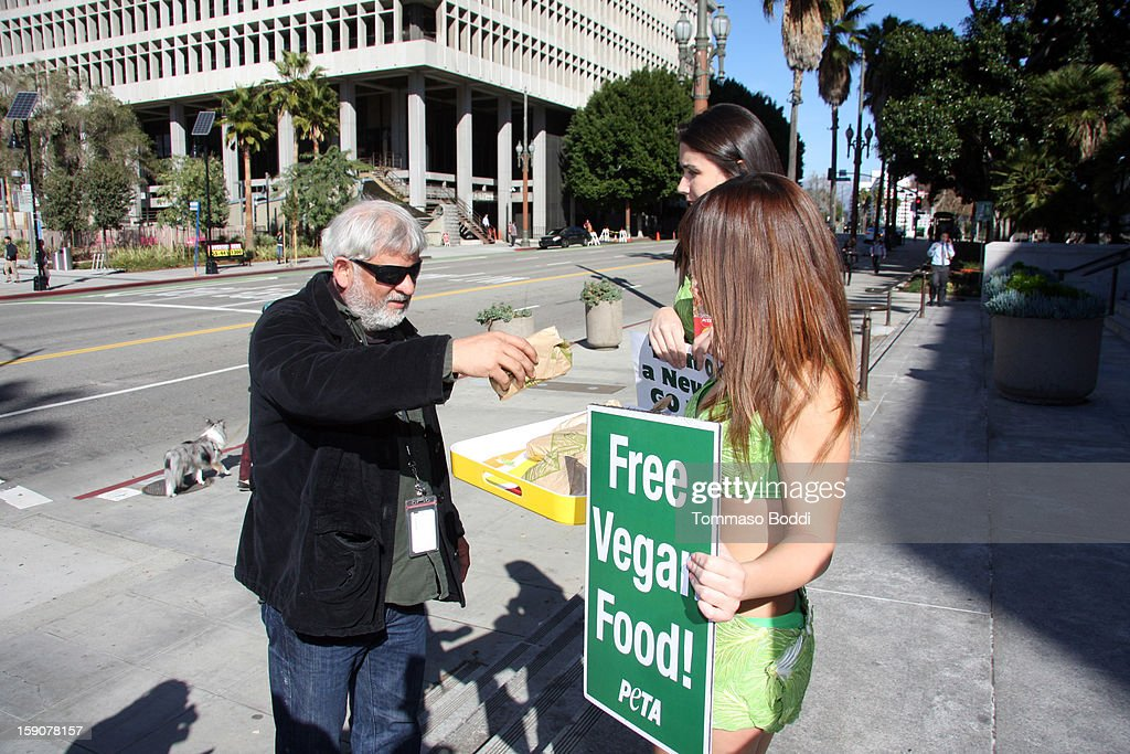 PETA's sexy lettuce ladies launch 'Turn Over A New Leaf: Go Vegan' campaign held at the Los Angeles City Hall on January 7, 2013 in Los Angeles, California.