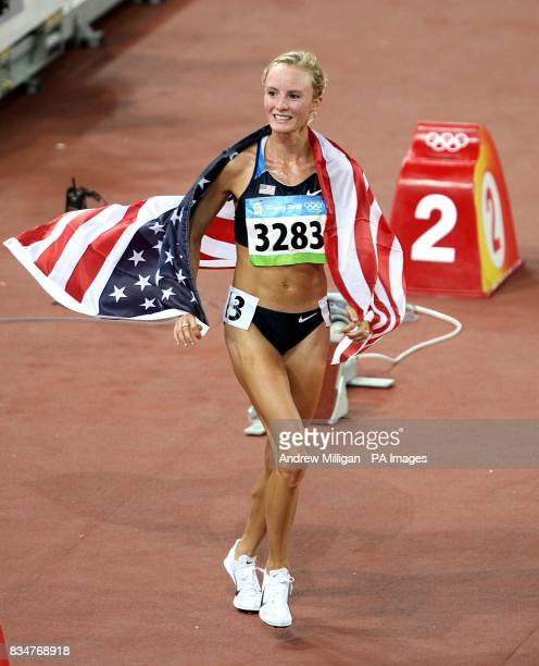 USA's Shalane Flanagan celebrates winning bronze in the 10000m at the 2008 Olympic Games in Beijing