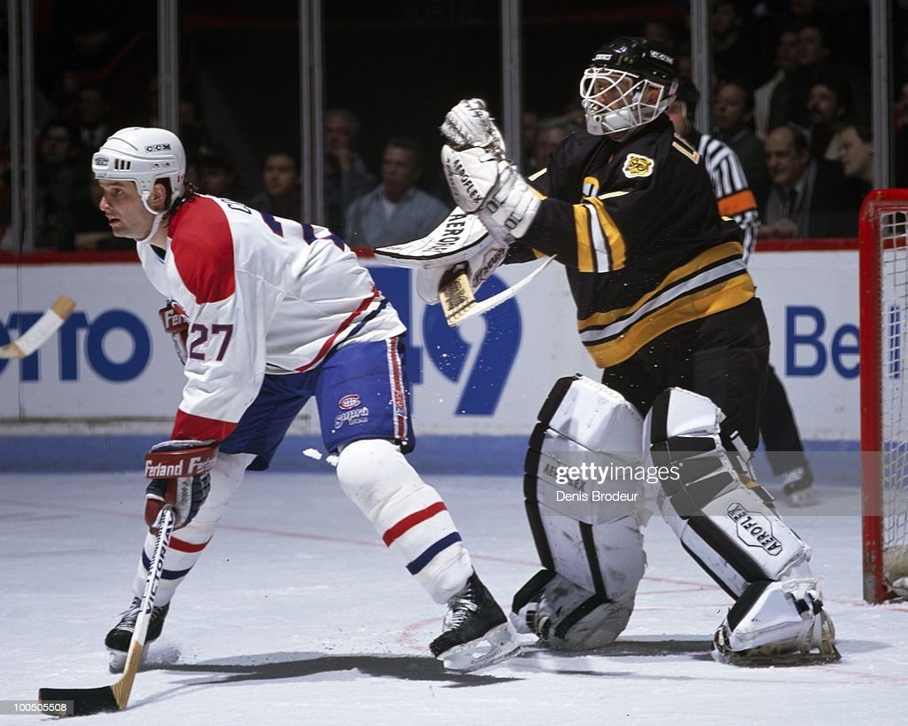 MONTREAL - 1980's: Shayne Corson #27 of the Montreal Canadiens skates against the Boston Bruins in the late 1980's at the Montreal Forum in Montreal, Quebec, Canada.