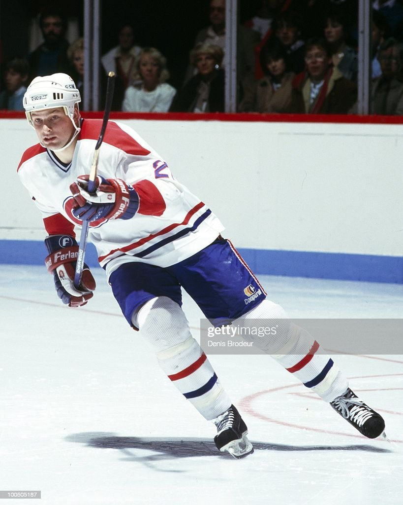 MONTREAL - 1980's: Shayne Corson #27 of the Montreal Canadiens skates in the late 1980's at the Montreal Forum in Montreal, Quebec, Canada.