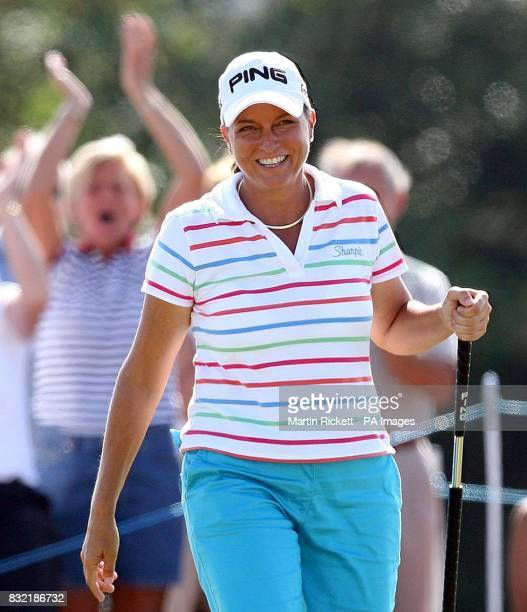 USA's Sherri Steinhauer celebrates her eagle on the 15th during the third round of the Weetabix Women's British Open at Royal Lytham and St Annes...