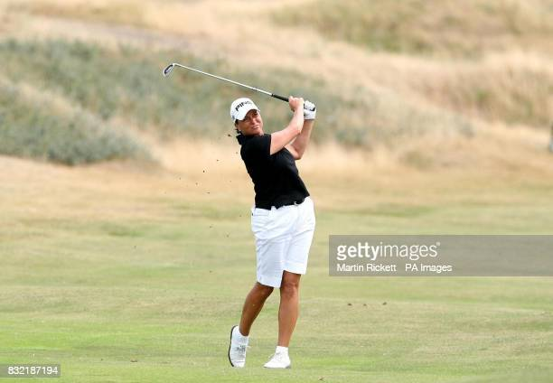 USA's Sherri Steinhauer hits off the fourth fairway during the final round of the Weetabix Women's British Open at Royal Lytham and St Annes...