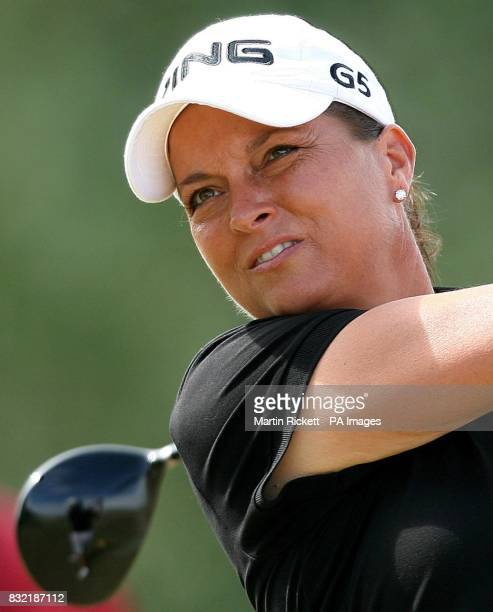 USA's Sherri Steinhauer hits off the third fairway during the final round of the Weetabix Women's British Open at Royal Lytham and St Annes Lancashire