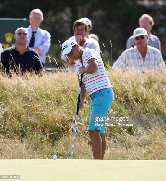 USA's Sherri Steinhauer watches her eagle on the 15th green during the third round of the Weetabix Women's British Open at Royal Lytham and St Annes...