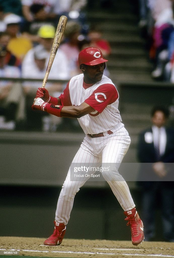 Shortstop Barry Larkin #11 of the Cincinnati Reds in action at the plate waiting on the pitch during a MLB baseball game circa 1990's at Riverfront Stadium in Cincinnati, Ohio. Larkin played for the Reds from 1986-04.