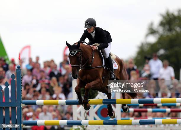 USA's Sinead Halpin rides Manoir De Carneville on the show jumping day during the Burghley Horse Trials at Burghley Park Stamford