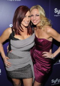 80's Singers Tiffany and Debbie Gibson attend the 'Mega Python vs Gatoroid' premiere at the Ziegfeld Theatre on January 24 2011 in New York City