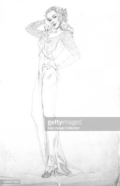CIRCA 1940's Sketch for Pinup art by Alberto Vargas circa 1940's