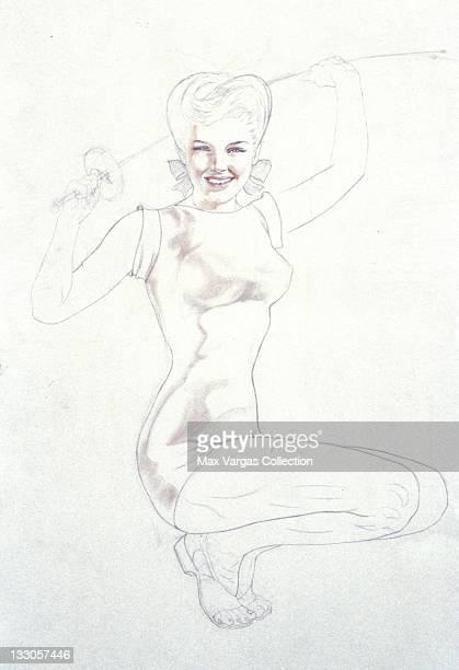CIRCA 1940's Sketch for Pinup art by Alberto Vargas for Esquire Magazine circa 1940's