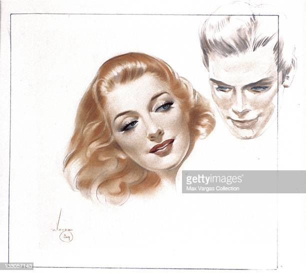 CIRCA 1940's Sketch for Pinup art by Alberto Vargas titled Soldier and his Girl for Esquire magazine circa 1940's