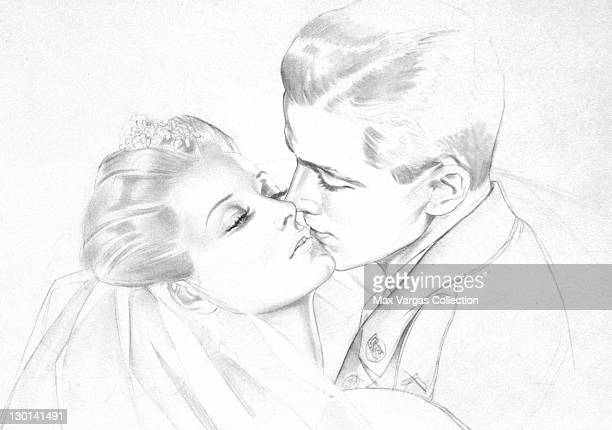 CIRCA 1940's Sketch for Pinup art by Alberto Vargas titled The Soldier's Kiss circa 1940's