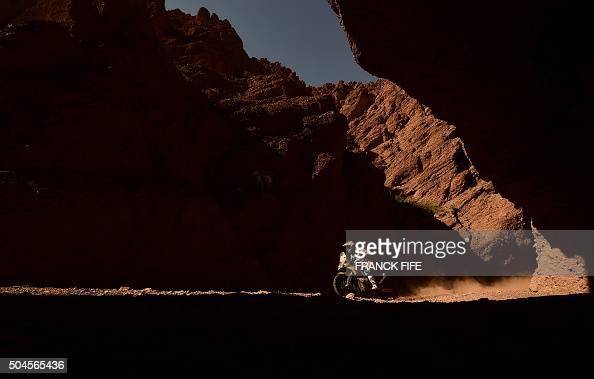 KTM's Spanish biker Jordi Villadoms competes during Stage 8 of the Dakar 2016 between Salta and Belen Argentina on January 11 2016 AFP PHOTO / FRANCK...