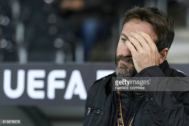 APOEL's Spanish head coach Thomas Christiansen gestures prior to the Europa League group B football match beetween Young Boys and APOEL at the Stade...