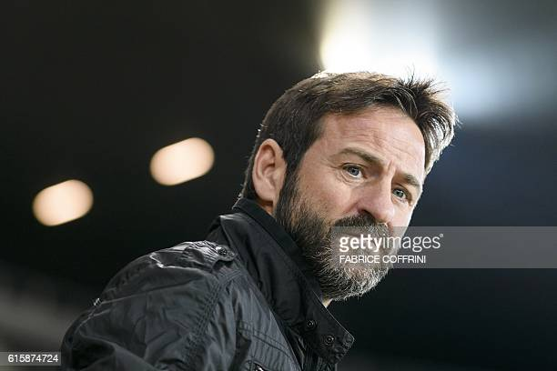 APOEL's Spanish head coach Thomas Christiansen looks on prior to the Europa League group B football match beetween Young Boys and APOEL at the Stade...