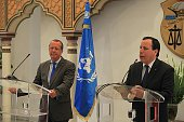 UN's special envoy on Libya Martin Kobler and Tunisian Foreign Affairs Minister Khemais Jhinaoui hold a joint press conference after their meeting at...