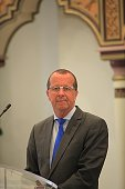 UN's special envoy on Libya Martin Kobler speaks during a joint press conference with Tunisian Foreign Affairs Minister after their meeting at the...
