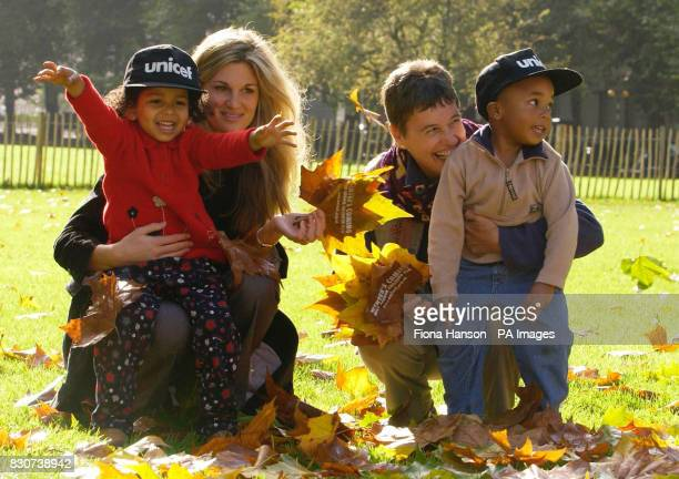 UNICEF's Special Representative for Children in Conflict Jemima Khan with grandmother and UNICEF Afghanistan Education Officer Hermione Youngs who...