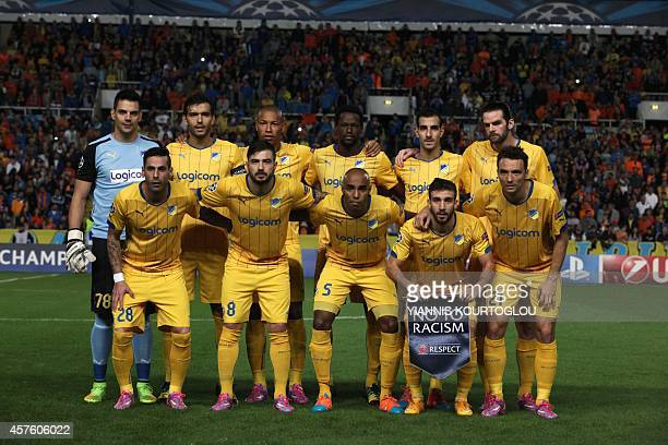 FC's starting eleven pose for a group picture ahead of their UEFA Champions League group F football match against Paris SaintGermain at GSP Stadium...
