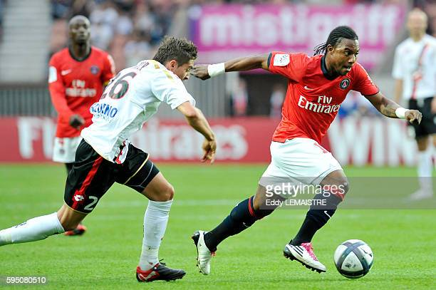 PSG's Stephane Sessegnon and Nice's Anthony Mounier during the French First league soccer match Paris Saint Germain vs OGC Nice at the Parc des...