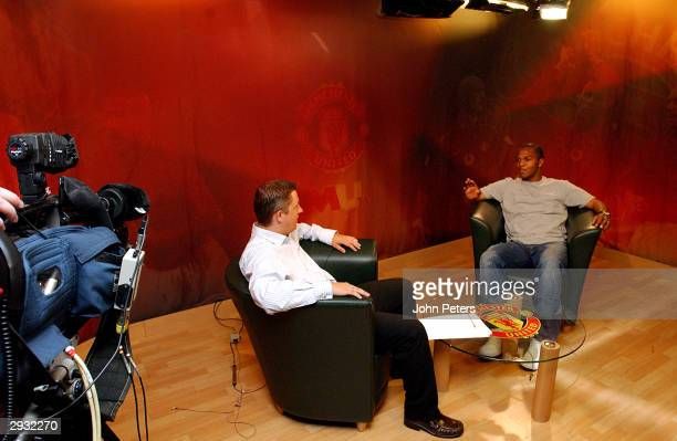 MUTV's Steve Bower interviews Quinton Fortune in the purposebuilt TV studio at Carrington on April 10 2003