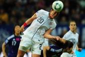 USA's striker Abby Wambach heads the ball during the FIFA Women's Football World Cup final match Japan vs USA on July 17 2011 in Frankfurt am Main...