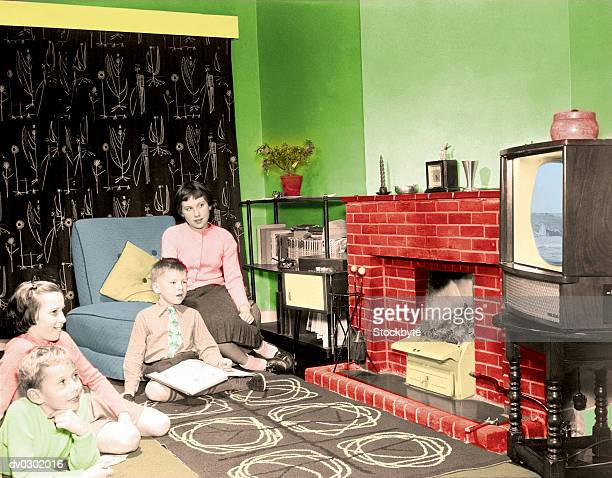 1950's Style Family Watching Television