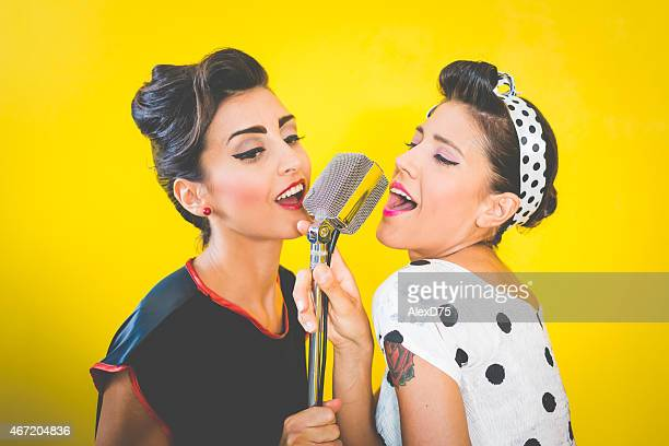 50's Style - Portrait of beautiful singers
