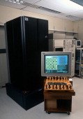 IBM's supercomputer 'Deep Blue' is photographed February 16 1996 at IBM's headquarters in Armonk New York during the famous chess matches against...